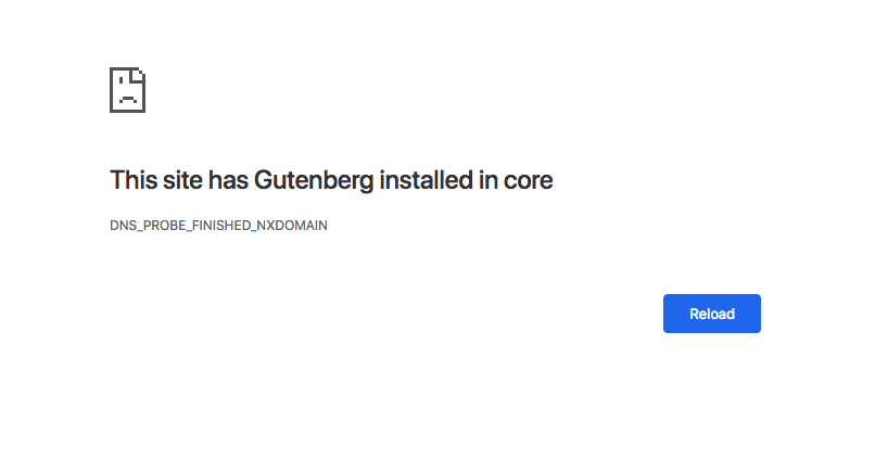 Screen Shot of gutenberg takeover crash