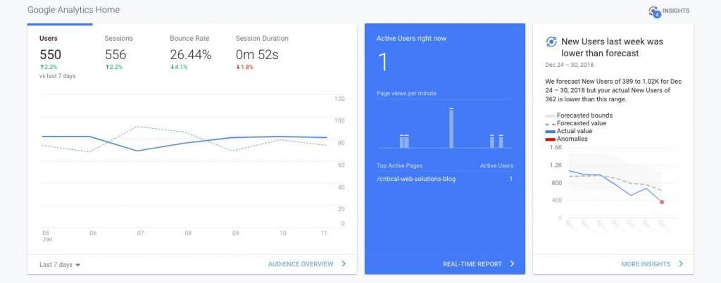 Purpose of Google Analytics Screenshot